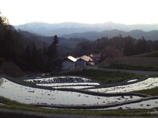 夕日と棚田