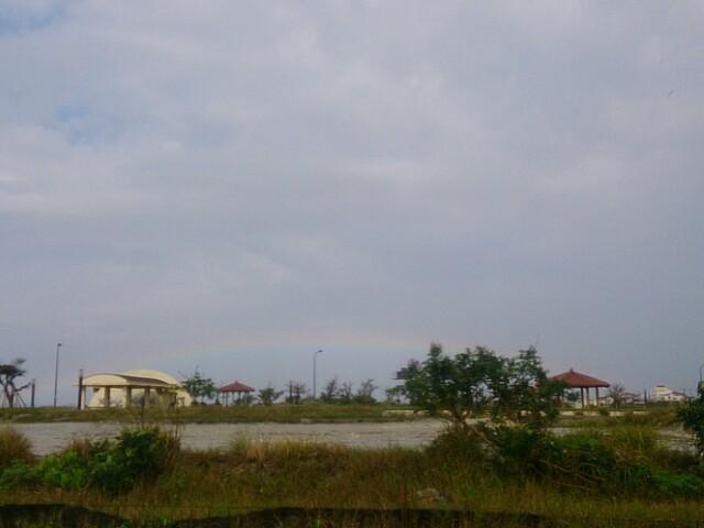 虹が出た。